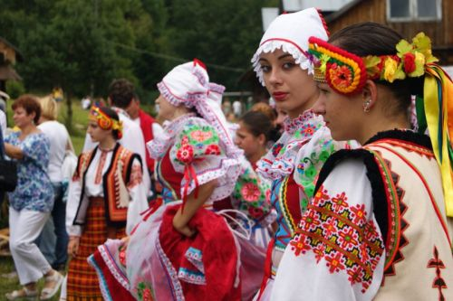 My Mother's tribe was called Lemko. These were their dance costumes. I have seen similar embroidery in stores in Vienna and Hungary is famous for  embroidered clothing.
