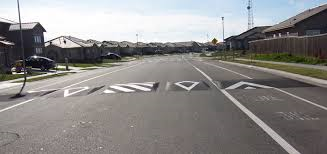 Speed humps with a bicycle path for  dog walkers, morning walkers, bicyclers and wheelchairs